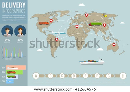 World transportation and logistics. Delivery and shipping infographic elements. Vector illustration - stock vector