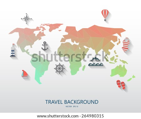 World travel background vacation items include stock vector world travel background for vacation items are include world map low poly design and summer gumiabroncs Choice Image