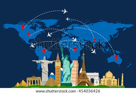 World travel map with airplanes and landmarks. Vector illustration. Modern flat design. - stock vector