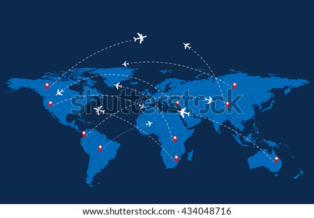 World travel map with airplanes. Vector illustration. - stock vector