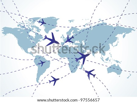 World travel map with airplanes. Vector illustration - stock vector