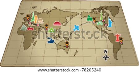 World travel map with icons vector - stock vector