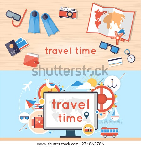 World Travel. Search for tour to the Internet using a computer. Planning summer vacations. Summer holiday. Tourism and vacation theme. 2 banners. Flat design vector illustration. Material design. - stock vector