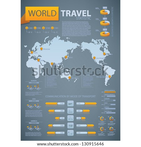World travel statistic. Duotone: Ocean grey and orange Info-graphic vector template designed with a dummy text. Some transparency objects