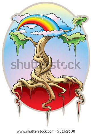 World Tree, or the Tree of the Universe, our world from heaven to hell in ancient religions, vector illustration - stock vector