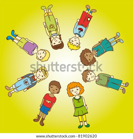 Pictures cute kids stock vector clipart illustration drawing sketch