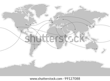 World vector map. Main cities are marked and connected with lines