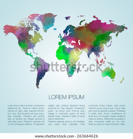 World vector map painted with watercolors. Web and mobile template. Corporate design web site. Atlas world map silhouette - stock vector