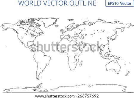 World map country borders thin black vectores en stock 620417477 world vector outline map high detail eps 10 vector file gumiabroncs Image collections