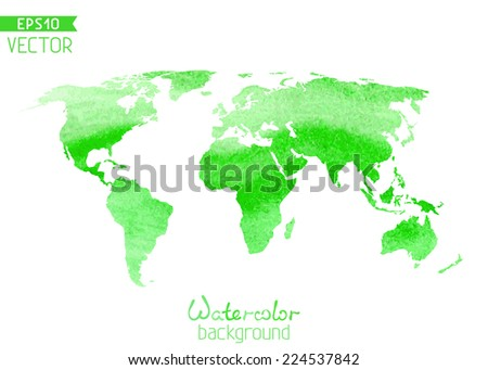 World vector watercolor map isolated on white background. Vector illustration.