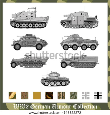 World War 2 German armor - stock vector