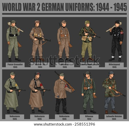 World War 2 German Soldiers in Uniforms Illustration Infographic Chart, 1944 - 1945, EPS 10 Vector - stock vector