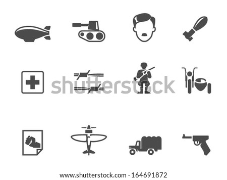 World War icons in single color - stock vector