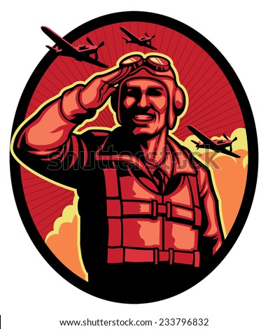 world war pilot - stock vector