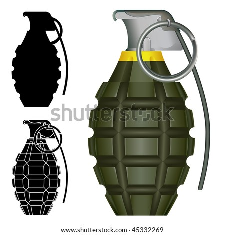 World War Two American pineapple hand grenade explosive bomb vector illustration.  Set includes silhouettes and high degree of detail. - stock vector