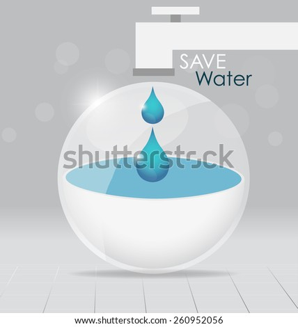 World water day concept with water drop. Vector illustration. - stock vector
