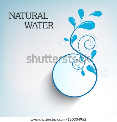 World Water Day sticker, tag or label design with stylish floral design made by water drops and text Natural Water on blue background.  - stock vector