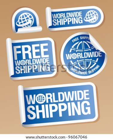 World-wide shipping stickers set. - stock vector