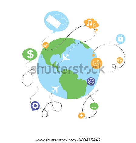 world wide social media network, internet communications and traveling concept