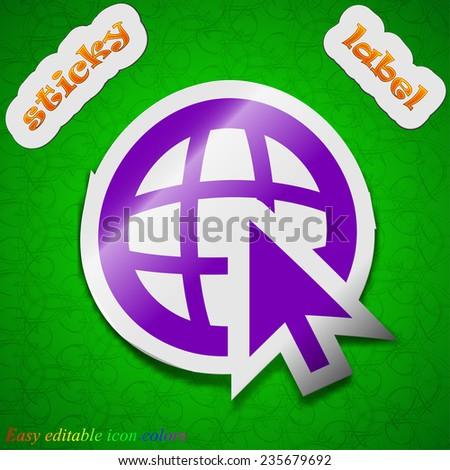 World wide web icon sign. Symbol chic colored sticky label on green background. Vector illustration - stock vector
