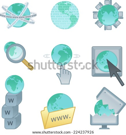 World wide web internet icons set. With computer icons related to internet access mixed with www and mouse pointer. Vector illustration cartoon. - stock vector