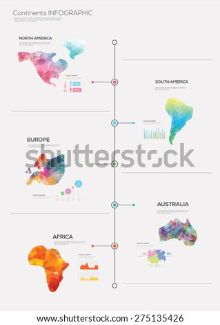 World with abstract continents infographics. Vector illustration - stock vector