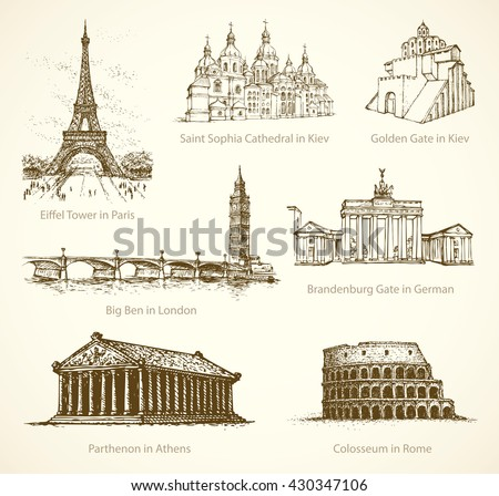 World wonder. Famous touristic show place of old known great historic European towns memorials. Freehand outline ink hand drawn picture icon sketch in art retro doodle style pen on paper background - stock vector
