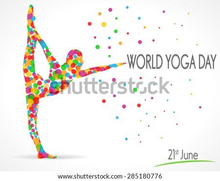World Yoga Day vector illustration, white background - vector eps10 - stock vector