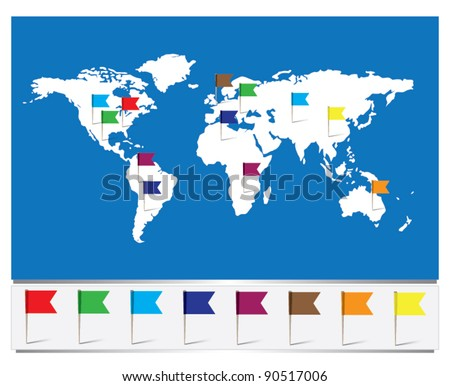 Worldmap with Flag pins - stock vector
