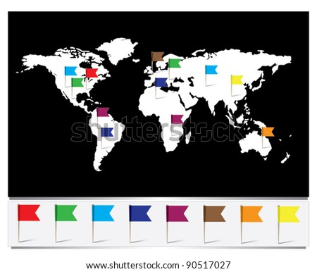 Worldmap flag pins stock vector 90517027 shutterstock worldmap with flag pins gumiabroncs Images