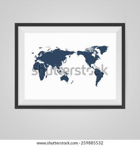 WorldmapPoster in a Frame on Wall. Vector illustration. - stock vector