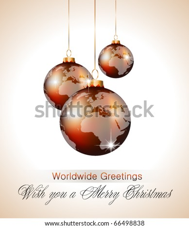 Worlds Christmas Baubles Background for Elegant Invitation Flyer or Brochure - stock vector