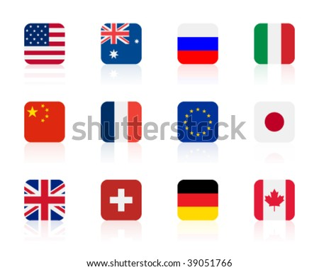 worlds flags 1 | square - stock vector