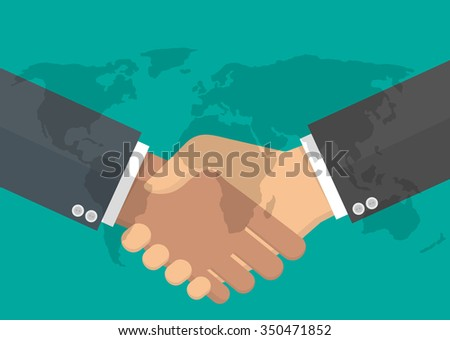 Worldwide cooperation concept. Business handshake with transparent world map on it. Flat style - stock vector