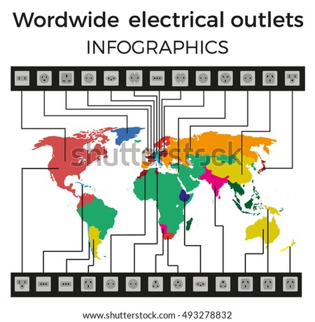 Worldwide electrical outlets, vector infographics