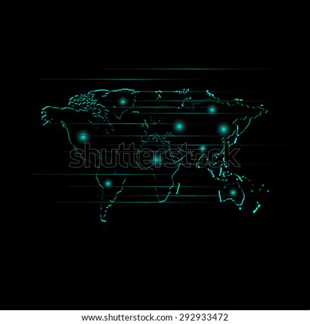 Worldwide network on world map background - stock vector