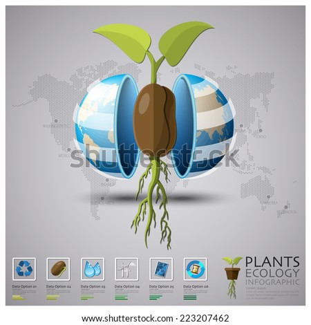 Worldwide Plant Ecology And Environment Infographic Design Template - stock vector