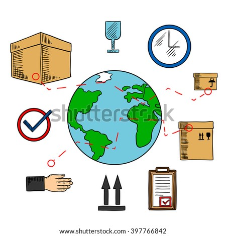 Worldwide shipping and logistics service icons with earth globe and delivery routes, cardboard packages with keep dry, up and fragile symbols, wall clock and clipboard with approved form - stock vector