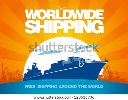 Worldwide shipping design template. - stock vector