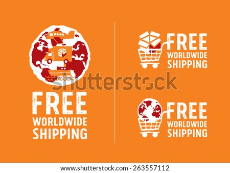 Worldwide shipping logos and signs with globe icon - freehand drawing vector Illustration - stock vector