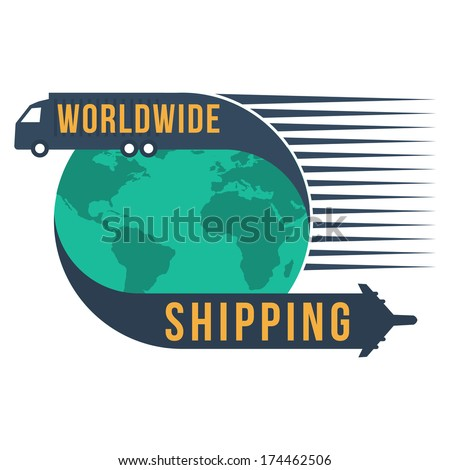 Worldwide shipping with globe icon, vector format : credit NASA - stock vector