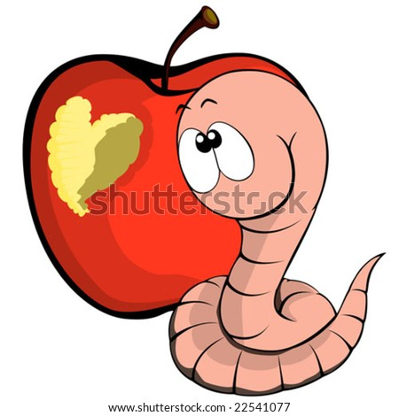 Worm and his heart - stock vector