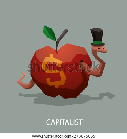 Worm the capitalist, vector - stock vector