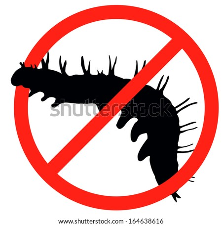 Worm vector silhouette isolated. Insect repellent emblem - stock vector