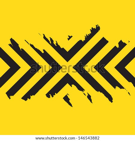 Worn black chevron style stripes over a yellow background. - stock vector