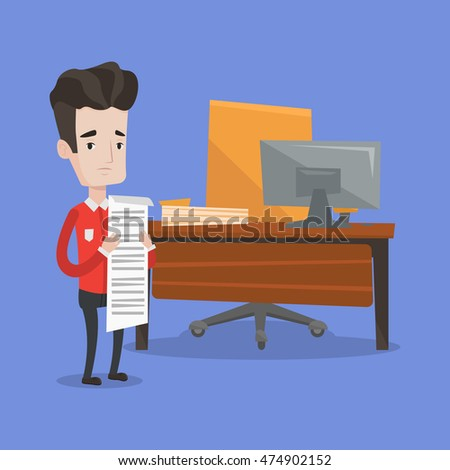 Worried businessman standing in office and holding a long bill. Disappointed businessman checking financial documents. Concept of business bankruptcy. Vector flat design illustration. Square layout.