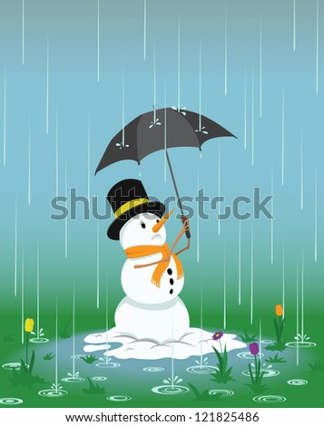 Worried snowman trying to keep dry under an umbrella as spring flowers start to grow around him. - stock vector