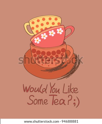 Would You Like Some tea? ;) - stock vector
