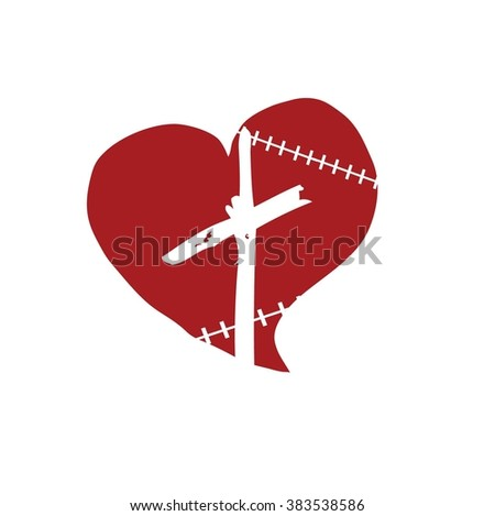 Wounded Heart - stock vector