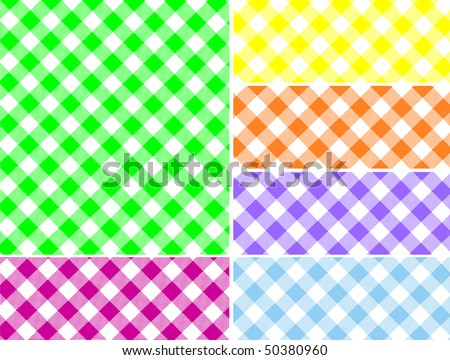 Woven gingham vector swatches in six colors that can be easily changed.
